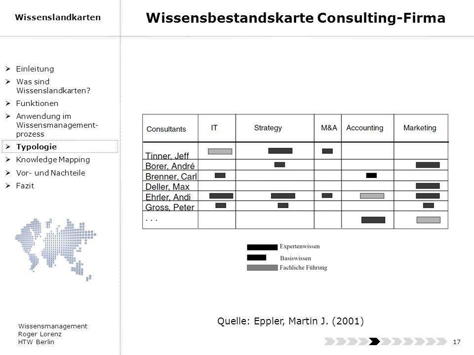 Wissensmanagement Roger Lorenz HTW Berlin Wissenslandkarten 17 Einleitung Was sind Wissenslandkarten? Funktionen Anwendung im Wissensmanagement- proze