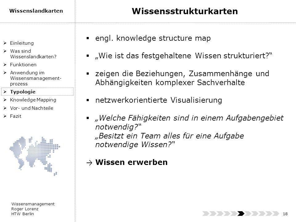 Wissensmanagement Roger Lorenz HTW Berlin Wissenslandkarten 18 engl. knowledge structure map Wie ist das festgehaltene Wissen strukturiert? zeigen die
