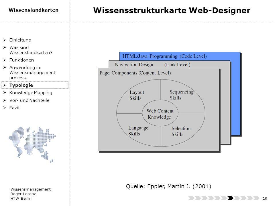 Wissensmanagement Roger Lorenz HTW Berlin Wissenslandkarten 19 Einleitung Was sind Wissenslandkarten? Funktionen Anwendung im Wissensmanagement- proze
