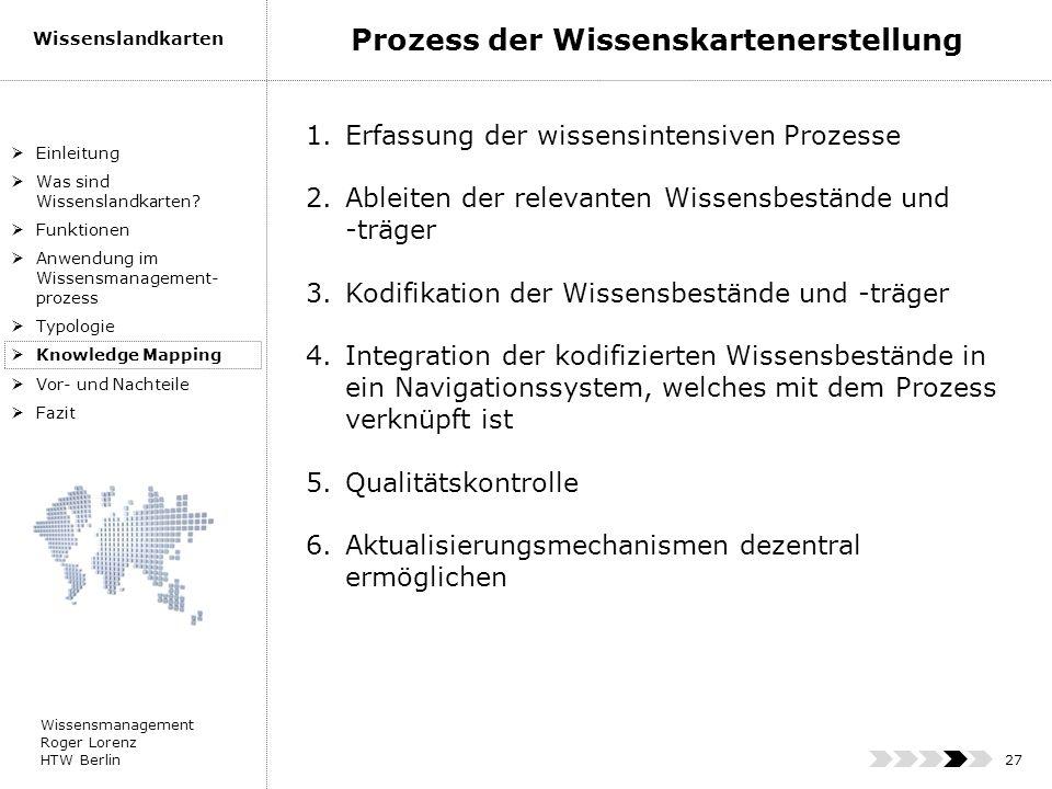 Wissensmanagement Roger Lorenz HTW Berlin Wissenslandkarten 27 Einleitung Was sind Wissenslandkarten? Funktionen Anwendung im Wissensmanagement- proze