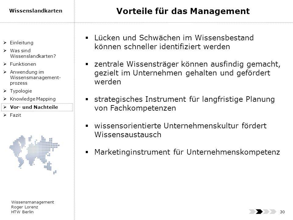Wissensmanagement Roger Lorenz HTW Berlin Wissenslandkarten 30 Einleitung Was sind Wissenslandkarten? Funktionen Anwendung im Wissensmanagement- proze