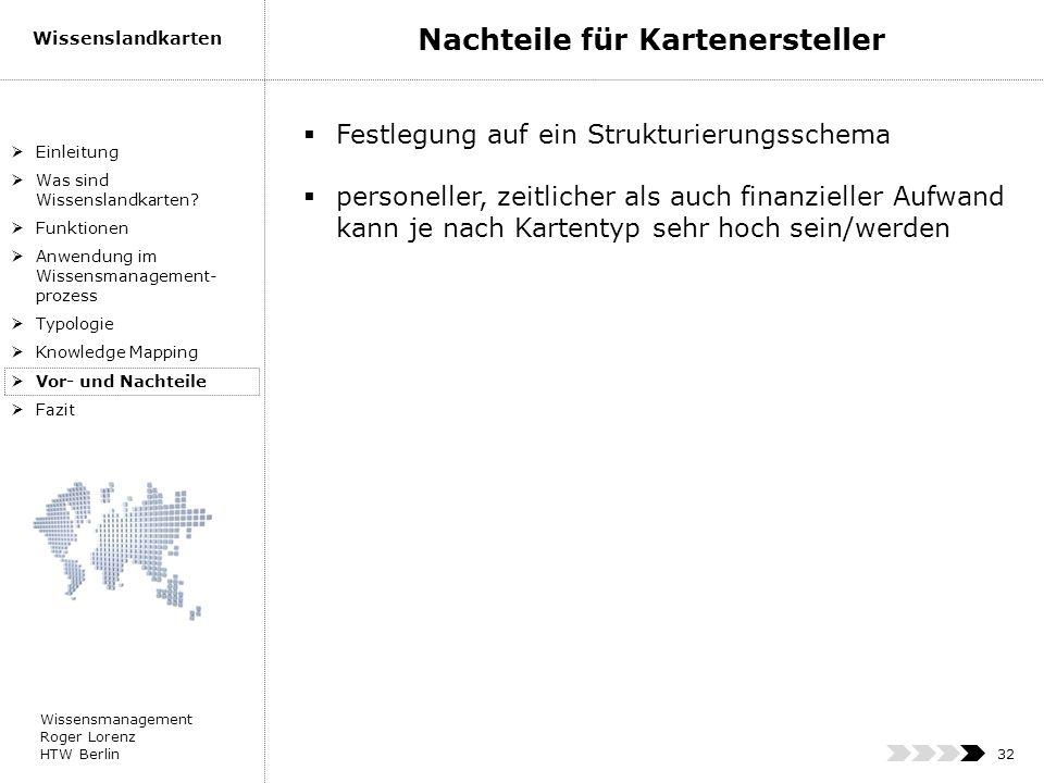 Wissensmanagement Roger Lorenz HTW Berlin Wissenslandkarten 32 Einleitung Was sind Wissenslandkarten? Funktionen Anwendung im Wissensmanagement- proze