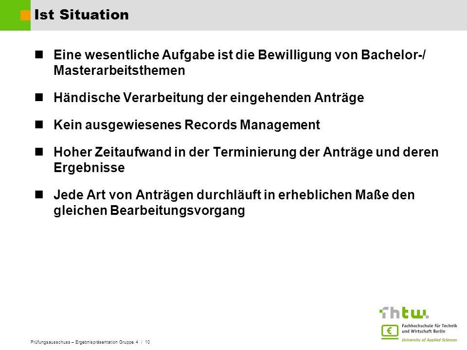 Prüfungsausschuss – Ergebnispräsentation Gruppe 4 / 10 Ist Situation Eine wesentliche Aufgabe ist die Bewilligung von Bachelor-/ Masterarbeitsthemen H