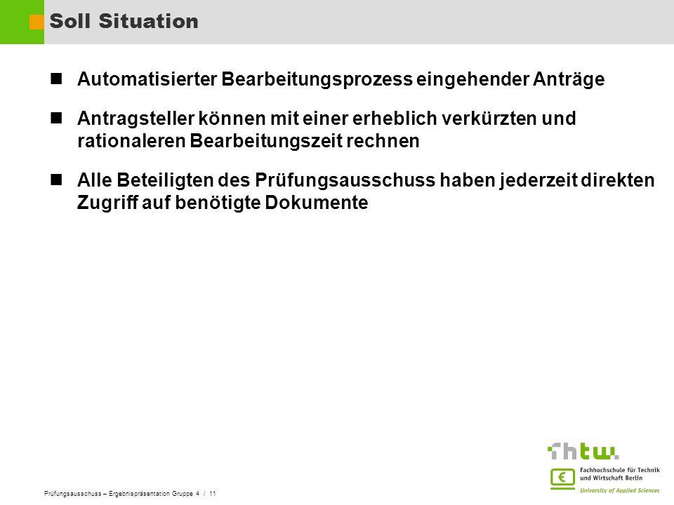 Prüfungsausschuss – Ergebnispräsentation Gruppe 4 / 11 Soll Situation Automatisierter Bearbeitungsprozess eingehender Anträge Antragsteller können mit
