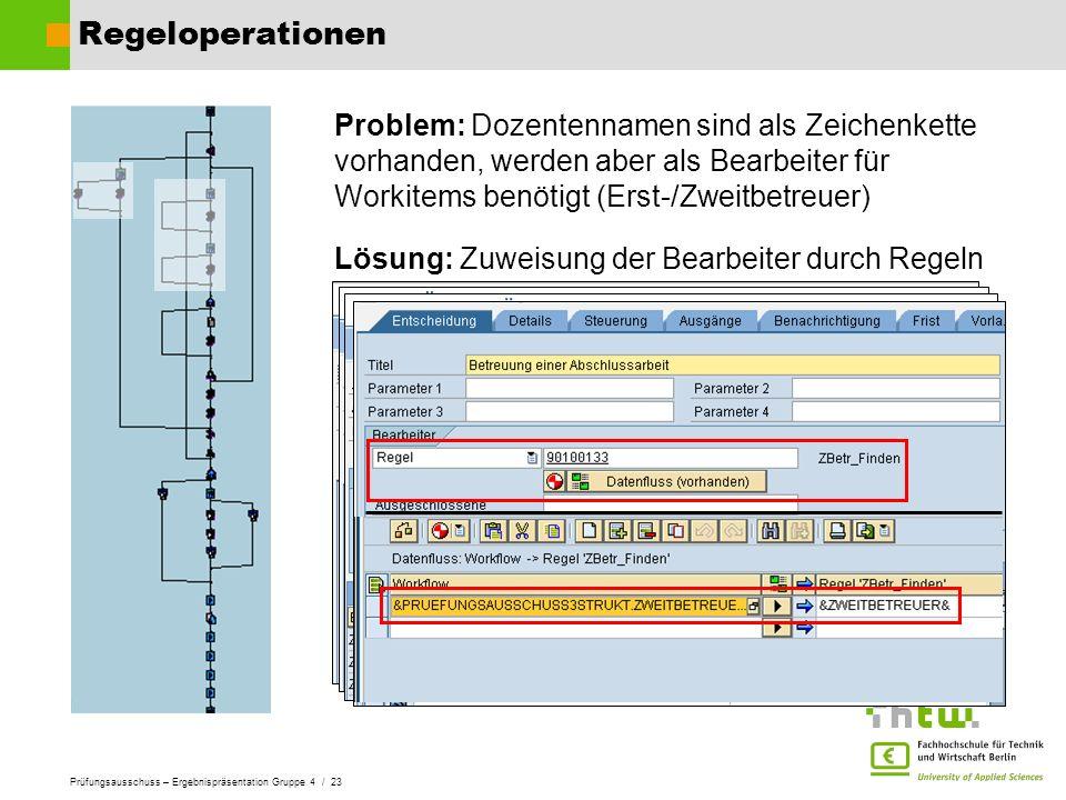 Prüfungsausschuss – Ergebnispräsentation Gruppe 4 / 23 Regeloperationen Problem: Dozentennamen sind als Zeichenkette vorhanden, werden aber als Bearbe