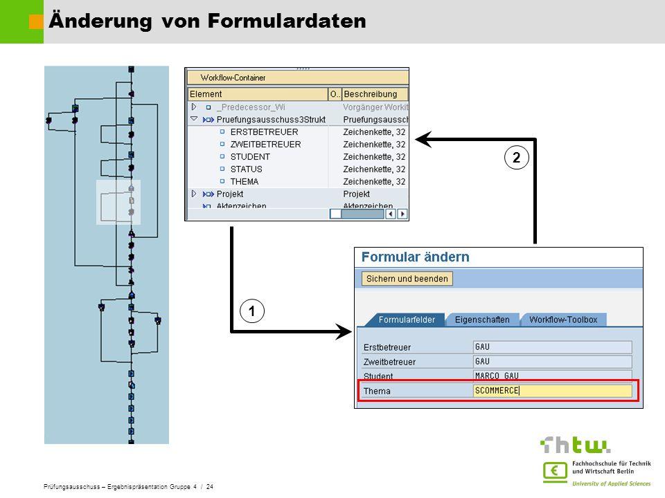 Prüfungsausschuss – Ergebnispräsentation Gruppe 4 / 24 Änderung von Formulardaten 1 2