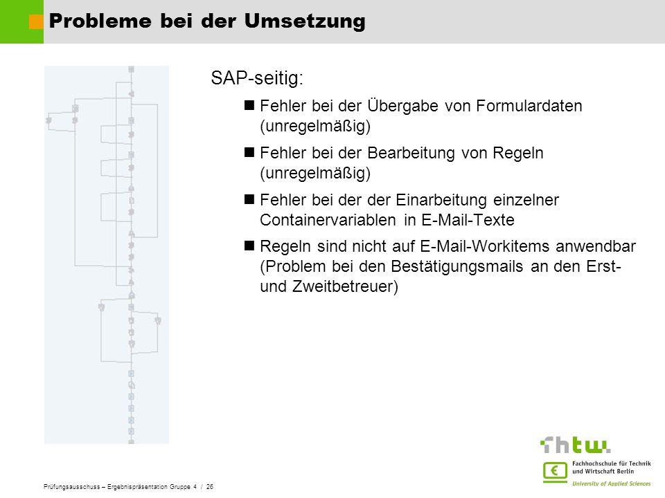 Prüfungsausschuss – Ergebnispräsentation Gruppe 4 / 26 Probleme bei der Umsetzung SAP-seitig: Fehler bei der Übergabe von Formulardaten (unregelmäßig)