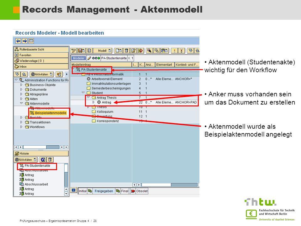 Prüfungsausschuss – Ergebnispräsentation Gruppe 4 / 28 Records Management - Aktenmodell Aktenmodell (Studentenakte) wichtig für den Workflow Anker mus