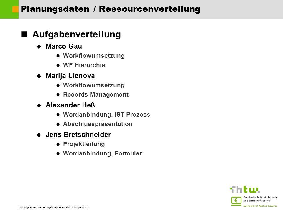 Prüfungsausschuss – Ergebnispräsentation Gruppe 4 / 6 Planungsdaten / Ressourcenverteilung Aufgabenverteilung Marco Gau Workflowumsetzung WF Hierarchi