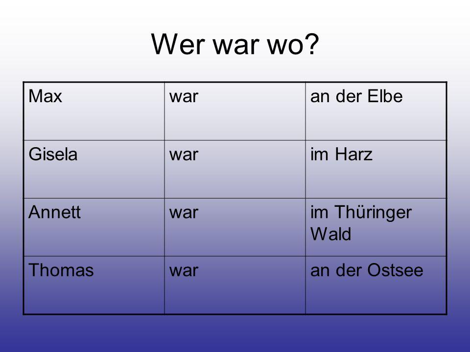 Wer war wo? Maxwaran der Elbe Giselawarim Harz Annettwarim Thüringer Wald Thomaswaran der Ostsee