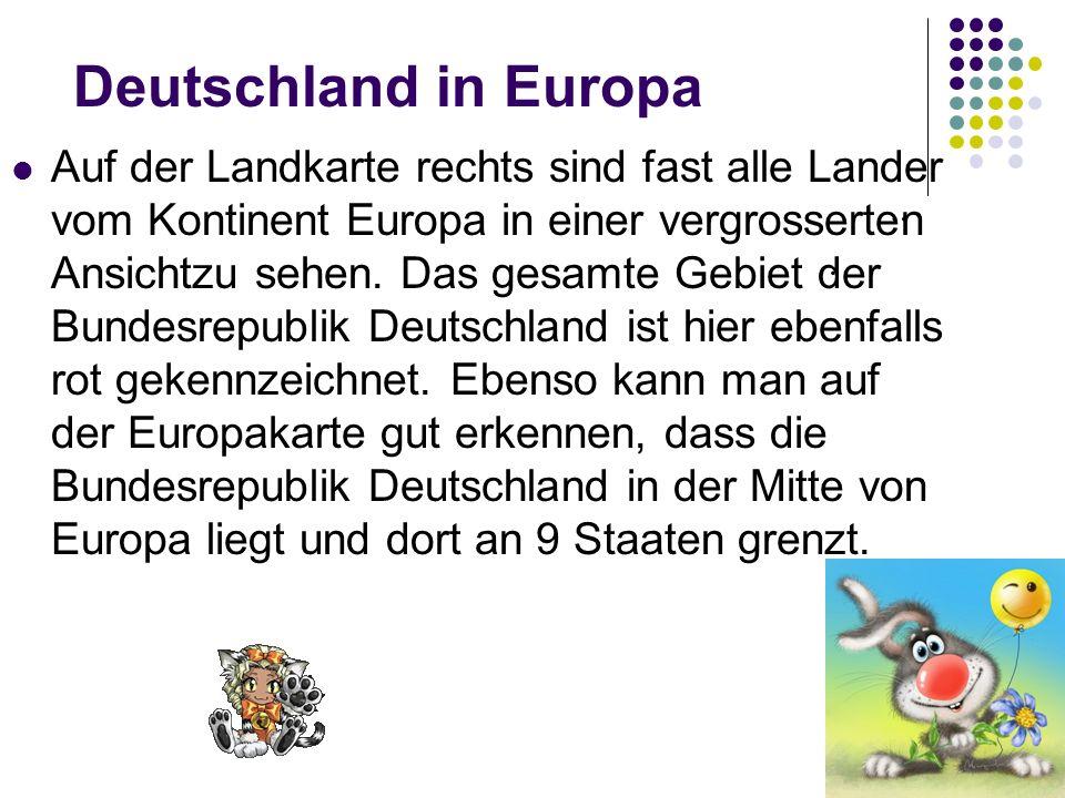 Deutschland in Europa Auf der Landkarte rechts sind fast alle Lander vom Kontinent Europa in einer vergrosserten Ansichtzu sehen.