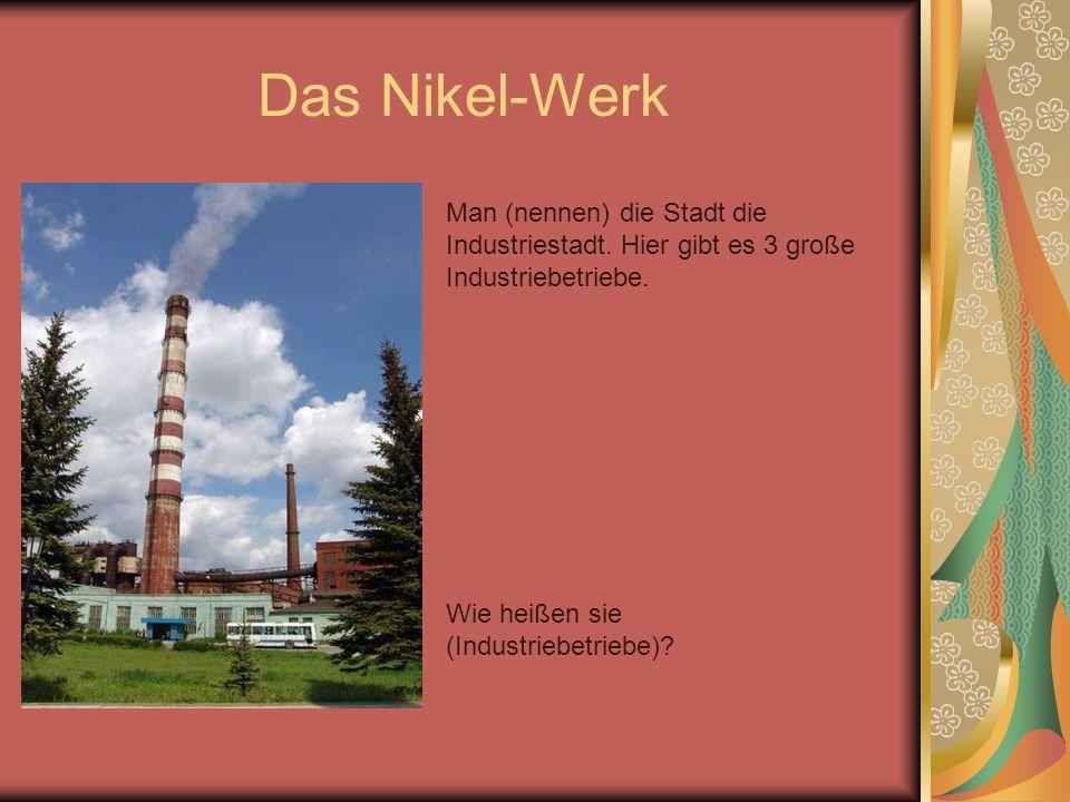 Das Nikel-Werk Man (nennen) die Stadt die Industriestadt. Hier gibt es 3 große Industriebetriebe. Wie heißen sie (Industriebetriebe)?