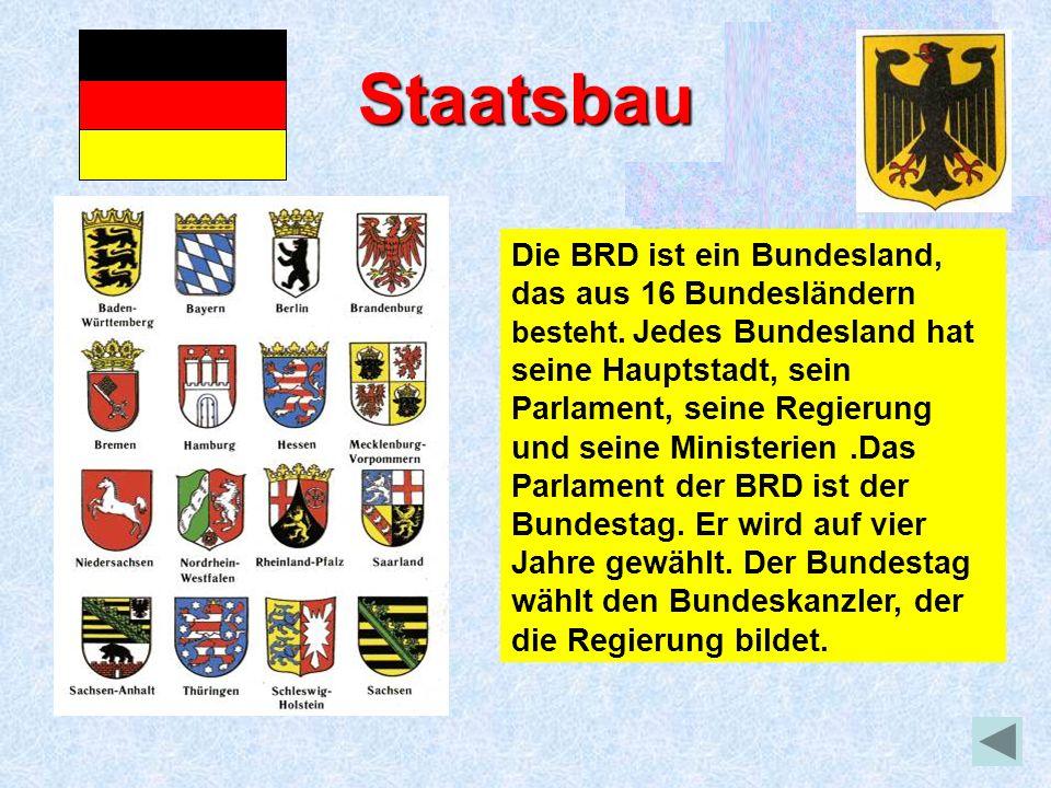 Staatsbau Die BRD ist ein Bundesland, das aus 16 Bundesländern besteht. Jedes Bundesland hat seine Hauptstadt, sein Parlament, seine Regierung und sei