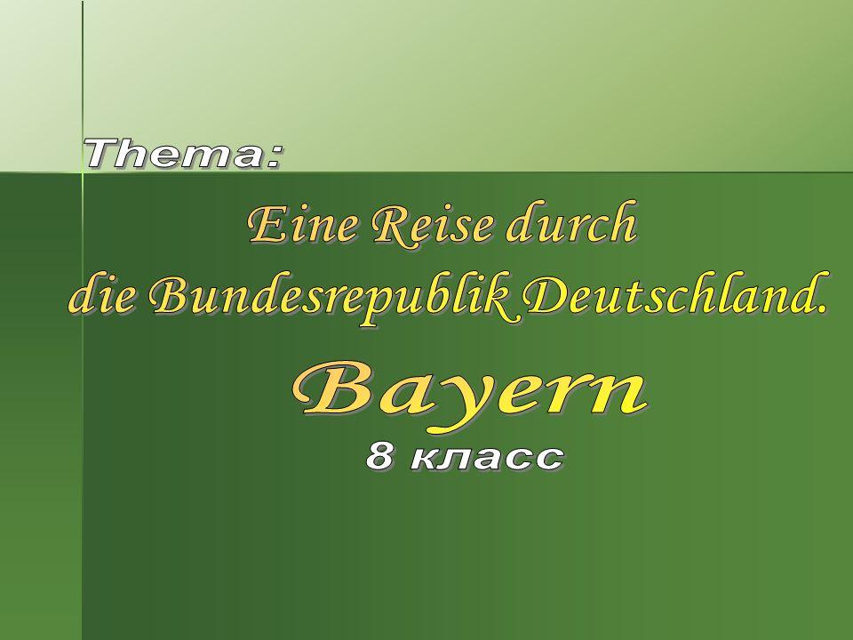 Geographische Lage des Bundeslandes Bayern.Geographische Lage des Bundeslandes Bayern.