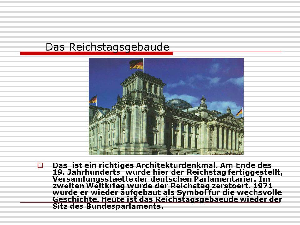 Das Brandenburger Tor Das aelteste Wahrzeichen Berlins ist das Brandenburger Tor.Dieses Tor teilte jahrzehntelang Berlin in Ost und West und mit dem F