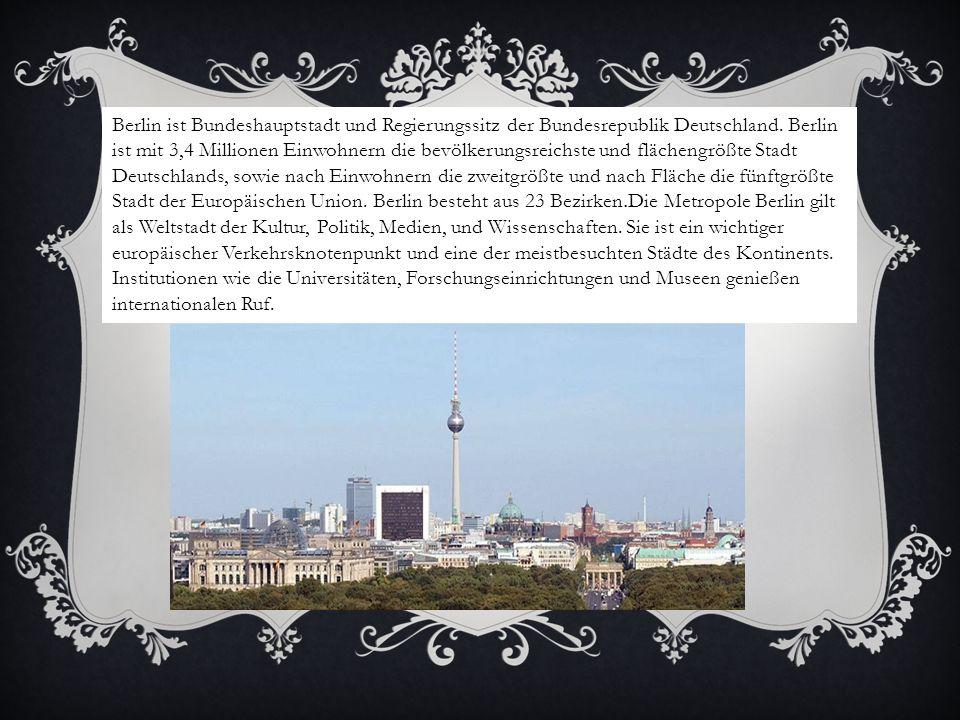 Berlin ist Bundeshauptstadt und Regierungssitz der Bundesrepublik Deutschland. Berlin ist mit 3,4 Millionen Einwohnern die bevölkerungsreichste und fl