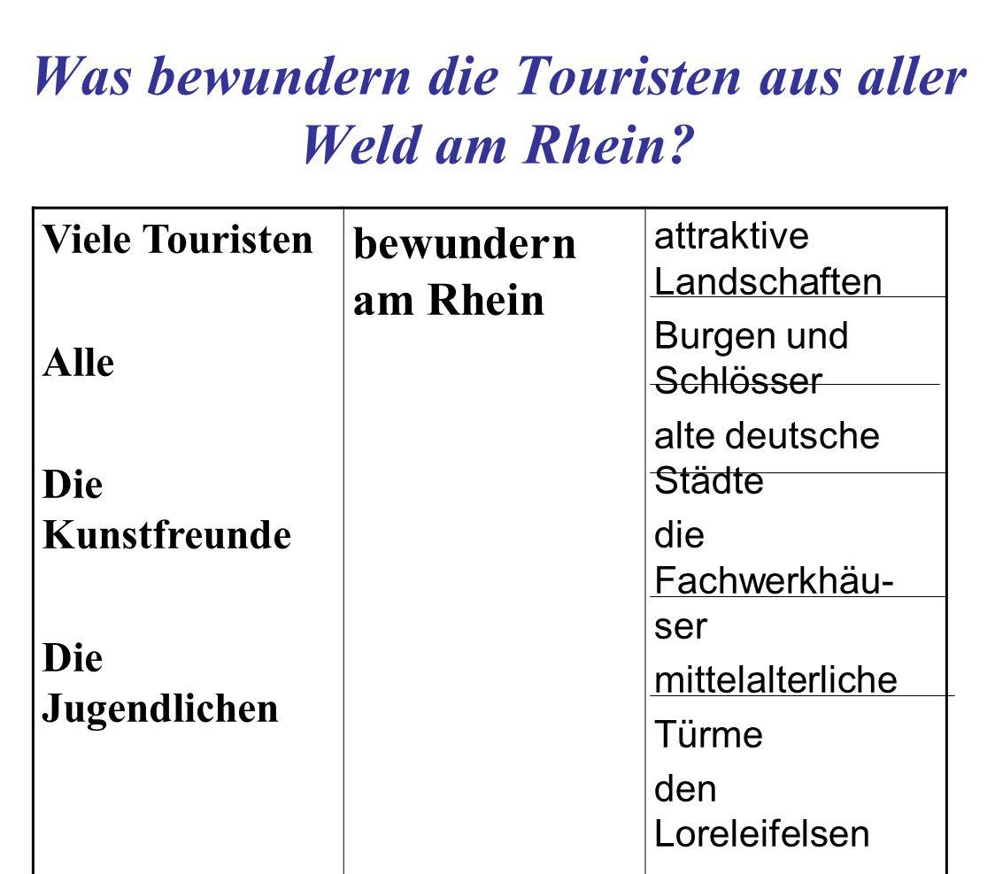 Was bewundern die Touristen aus aller Weld am Rhein? Viele Touristen Alle Die Kunstfreunde Die Jugendlichen bewundern am Rhein attraktive Landschaften