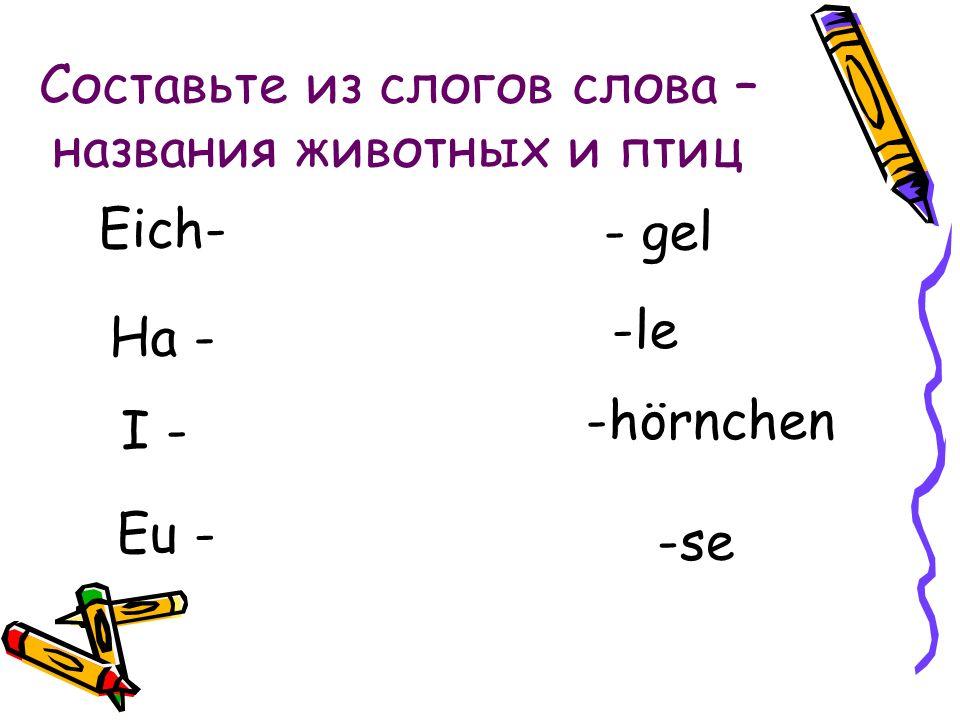 Еich – На – I – Eu- -gel -le - hörnchen -se Проверь себя!