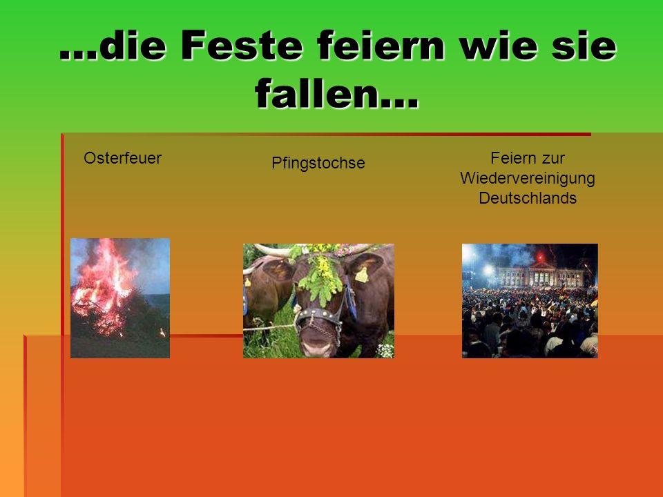 …die Feste feiern wie sie fallen… Osterfeuer Pfingstochse Feiern zur Wiedervereinigung Deutschlands