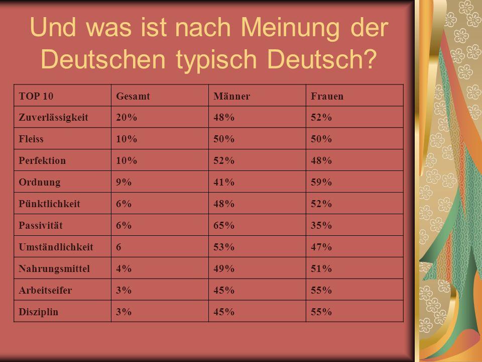 Und was ist nach Meinung der Deutschen typisch Deutsch.