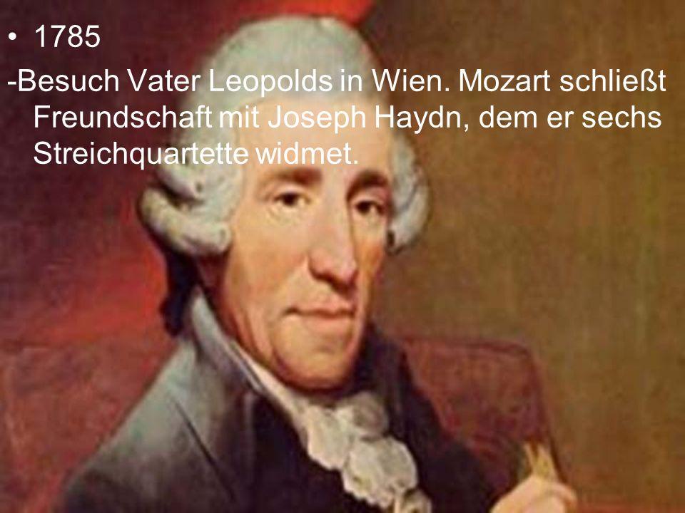 1785 -Besuch Vater Leopolds in Wien. Mozart schließt Freundschaft mit Joseph Haydn, dem er sechs Streichquartette widmet.