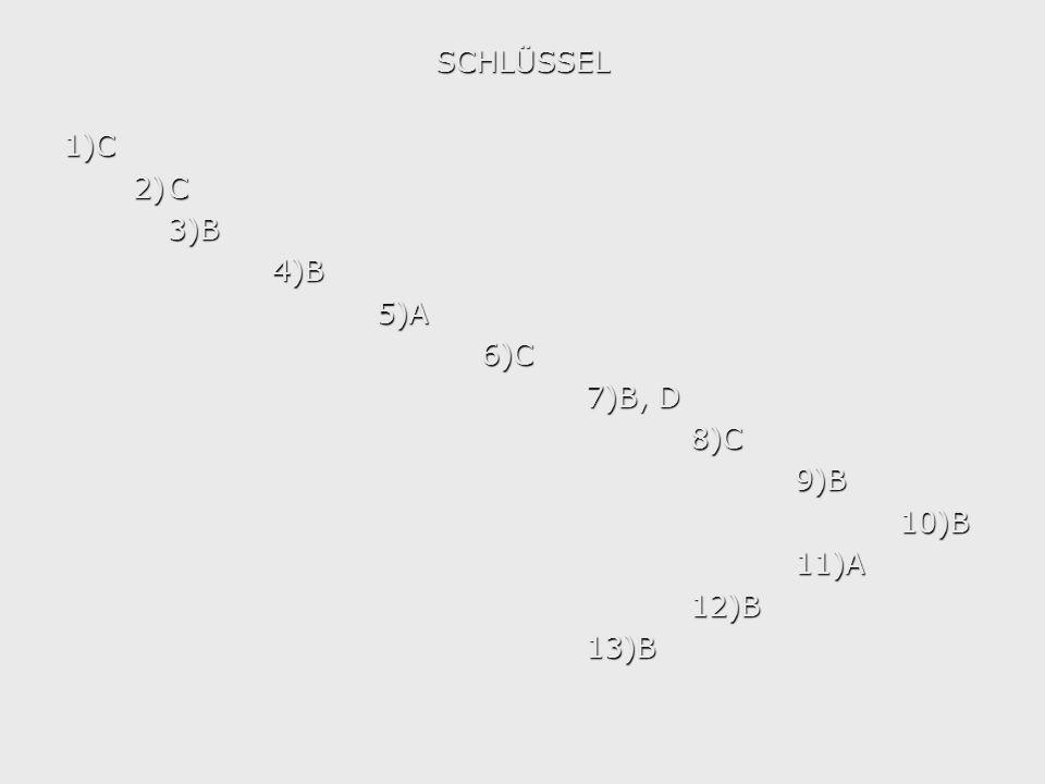 SCHLÜSSEL1)C 2)C 3)B4)B5)A6)C 7)B, D 8)C9)B10)B11)A12)B13)B