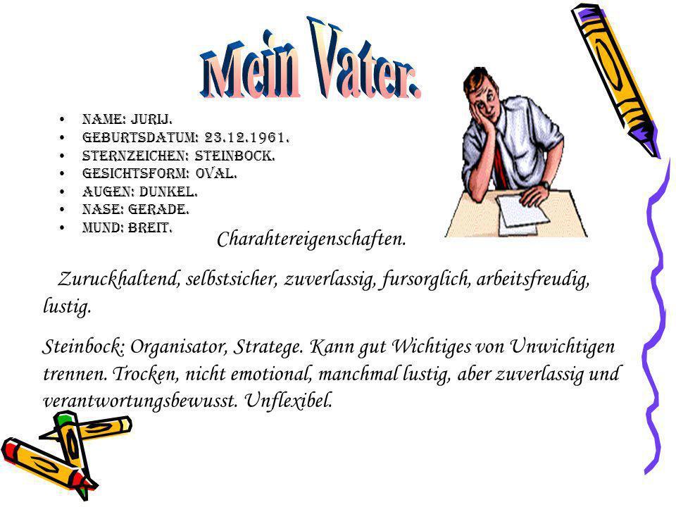 Name: Jurij.Geburtsdatum: 23.12.1961. Sternzeichen: Steinbock.
