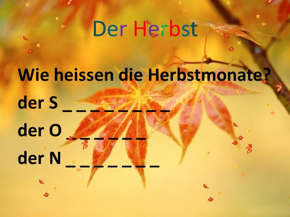 Der HerbstDer Herbst Wie heissen die Herbstmonate? der S _ _ _ _ _ _ _ _ der O _ _ _ _ _ _ der N _ _ _ _ _ _ _