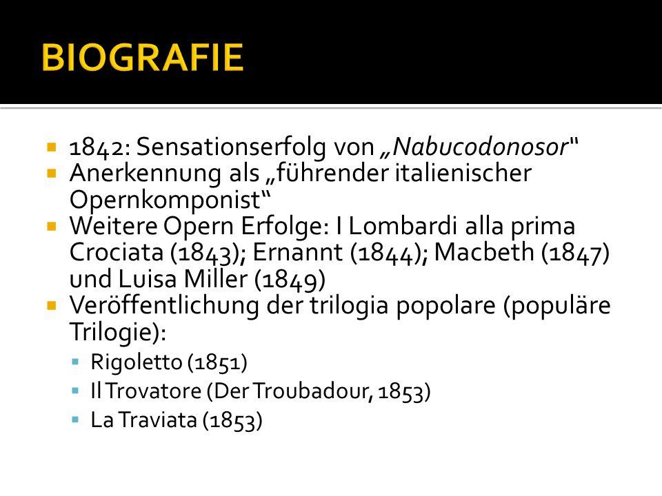 1842: Sensationserfolg von Nabucodonosor Anerkennung als führender italienischer Opernkomponist Weitere Opern Erfolge: I Lombardi alla prima Crociata