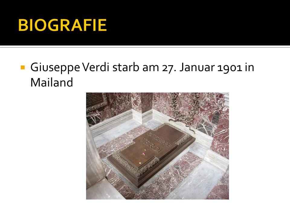 Giuseppe Verdi starb am 27. Januar 1901 in Mailand