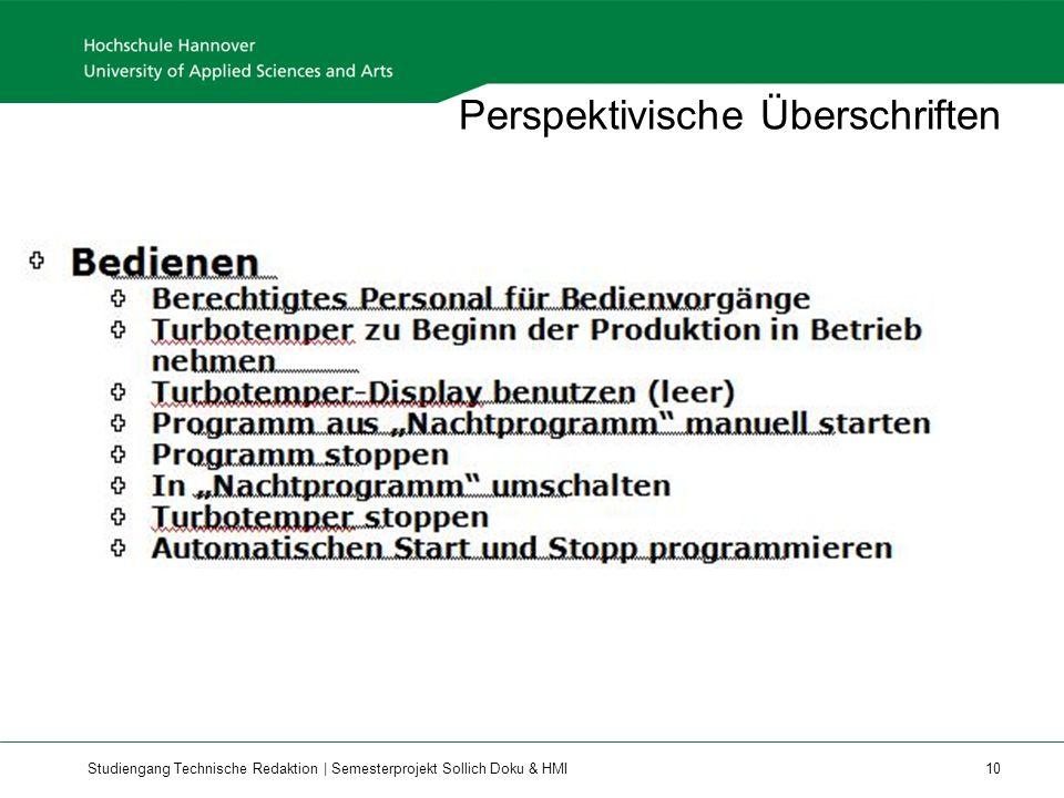 Studiengang Technische Redaktion | Semesterprojekt Sollich Doku & HMI 10 Perspektivische Überschriften