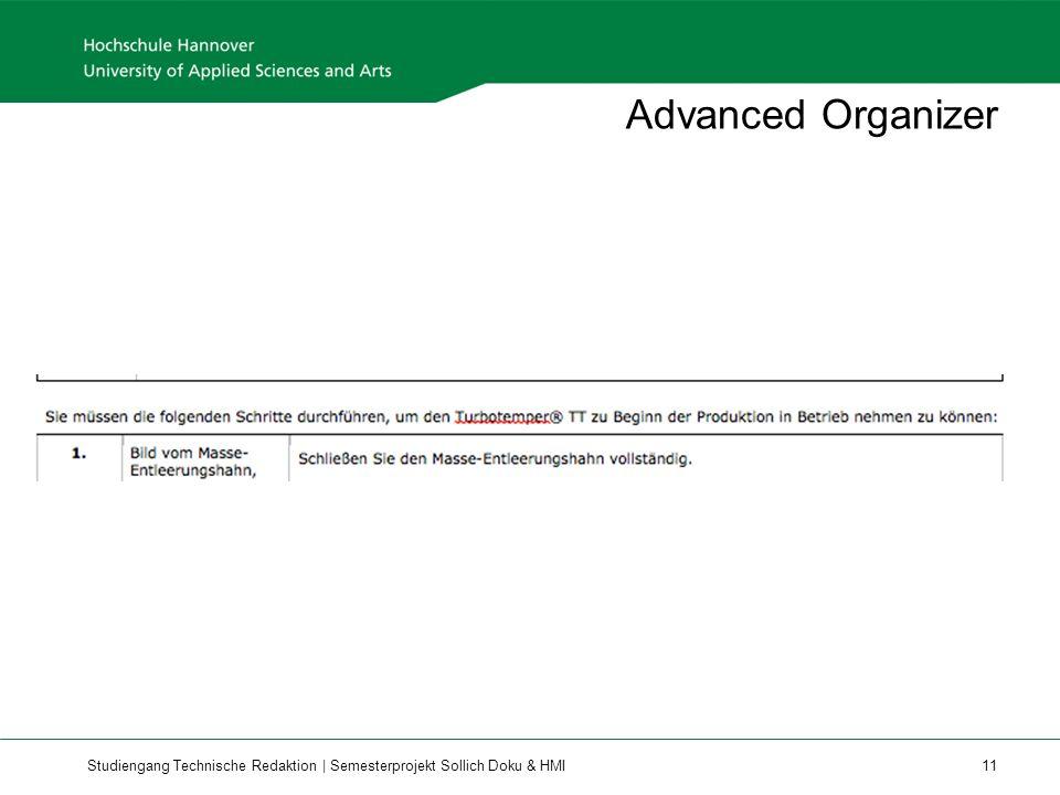 Studiengang Technische Redaktion | Semesterprojekt Sollich Doku & HMI 11 Advanced Organizer