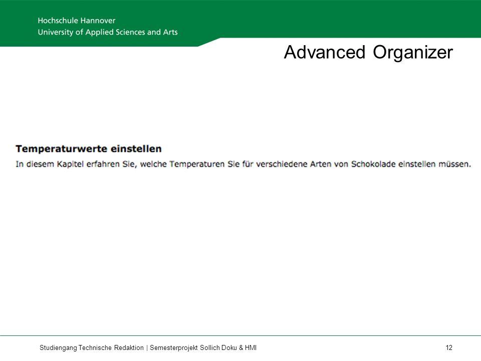 Studiengang Technische Redaktion | Semesterprojekt Sollich Doku & HMI 12 Advanced Organizer