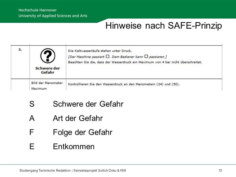 Studiengang Technische Redaktion | Semesterprojekt Sollich Doku & HMI 15 Hinweise nach SAFE-Prinzip SSchwere der Gefahr AArt der Gefahr FFolge der Gefahr EEntkommen