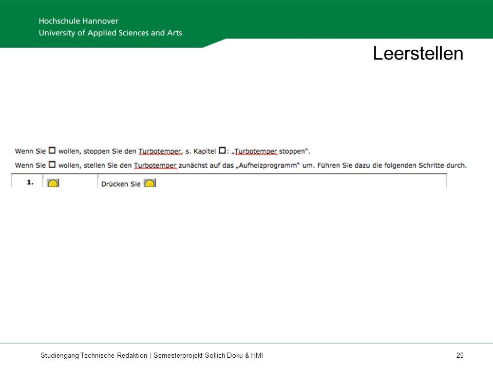 Studiengang Technische Redaktion | Semesterprojekt Sollich Doku & HMI 20 Leerstellen