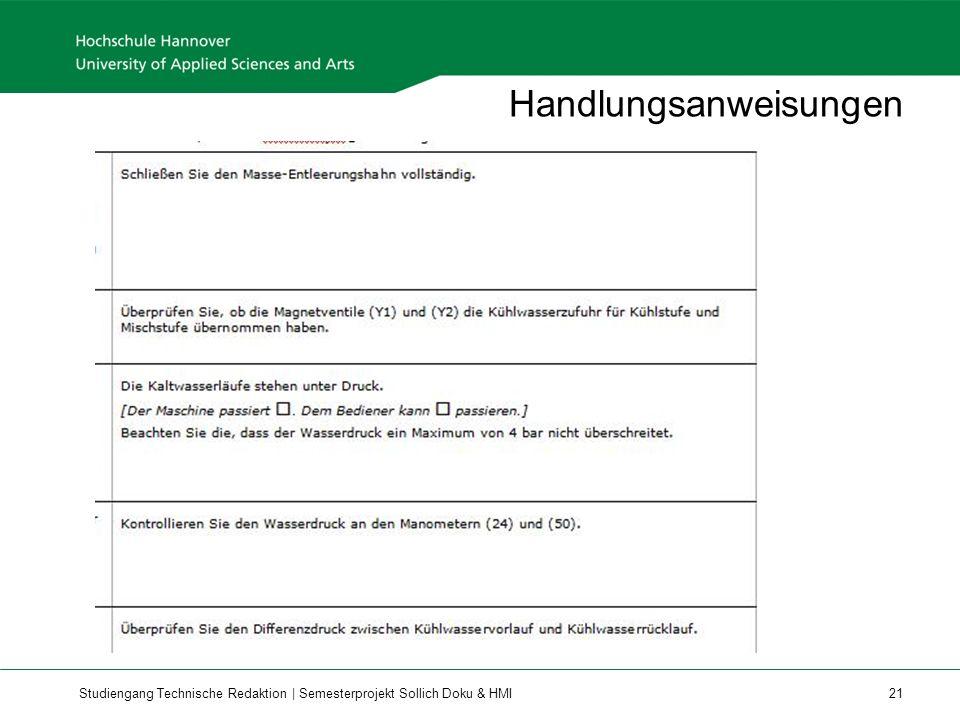 Studiengang Technische Redaktion | Semesterprojekt Sollich Doku & HMI 21 Handlungsanweisungen
