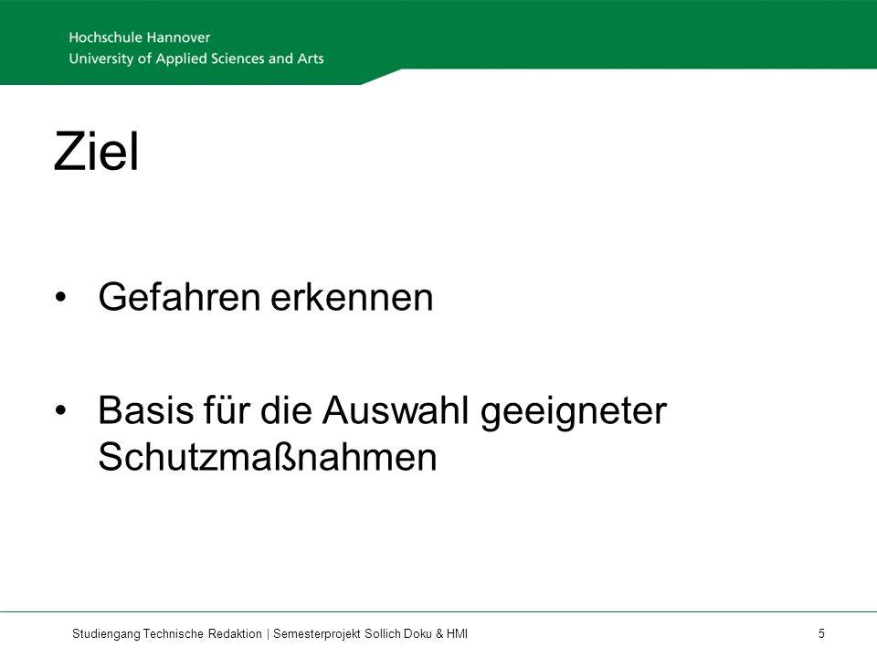 Studiengang Technische Redaktion | Semesterprojekt Sollich Doku & HMI 16 Das Kapitel Bedienen