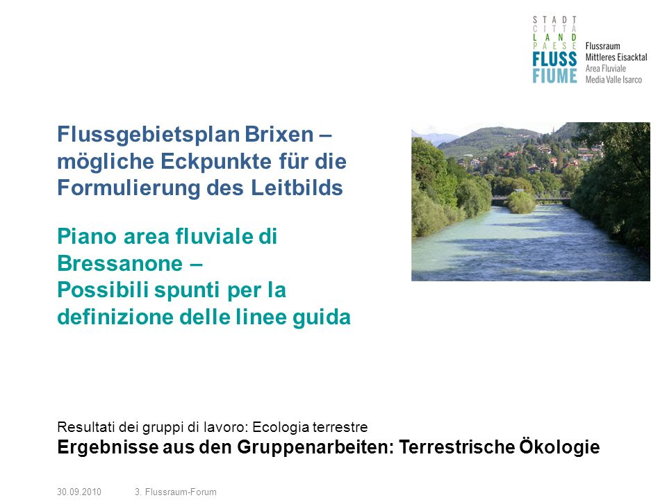 30.09.20103. Flussraum-Forum Flussgebietsplan Brixen – mögliche Eckpunkte für die Formulierung des Leitbilds Piano area fluviale di Bressanone – Possi