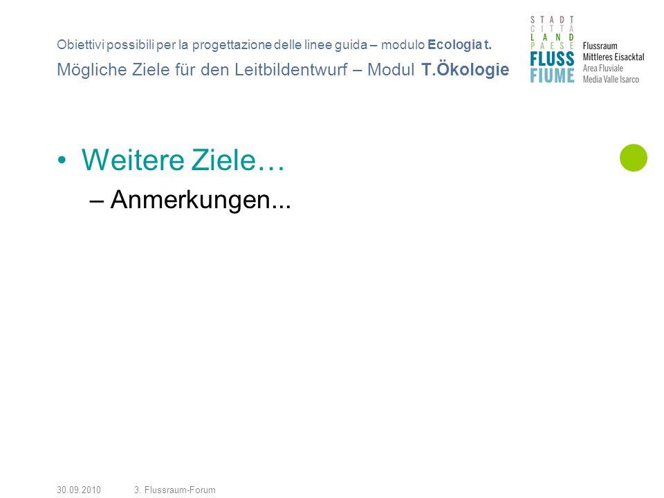 30.09.20103. Flussraum-Forum Weitere Ziele… –Anmerkungen... Mögliche Ziele für den Leitbildentwurf – Modul T.Ökologie Obiettivi possibili per la proge