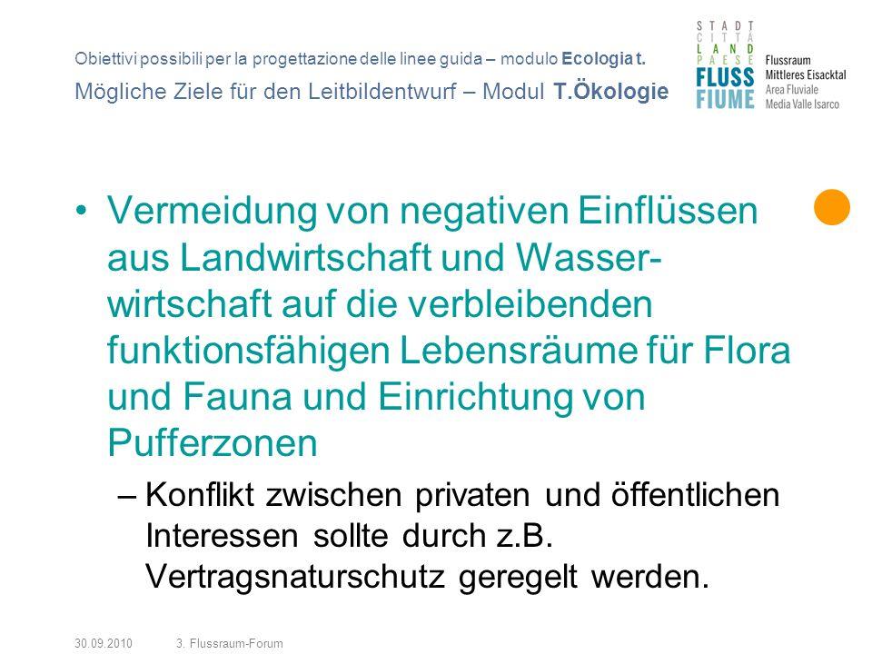 30.09.20103. Flussraum-Forum Vermeidung von negativen Einflüssen aus Landwirtschaft und Wasser- wirtschaft auf die verbleibenden funktionsfähigen Lebe