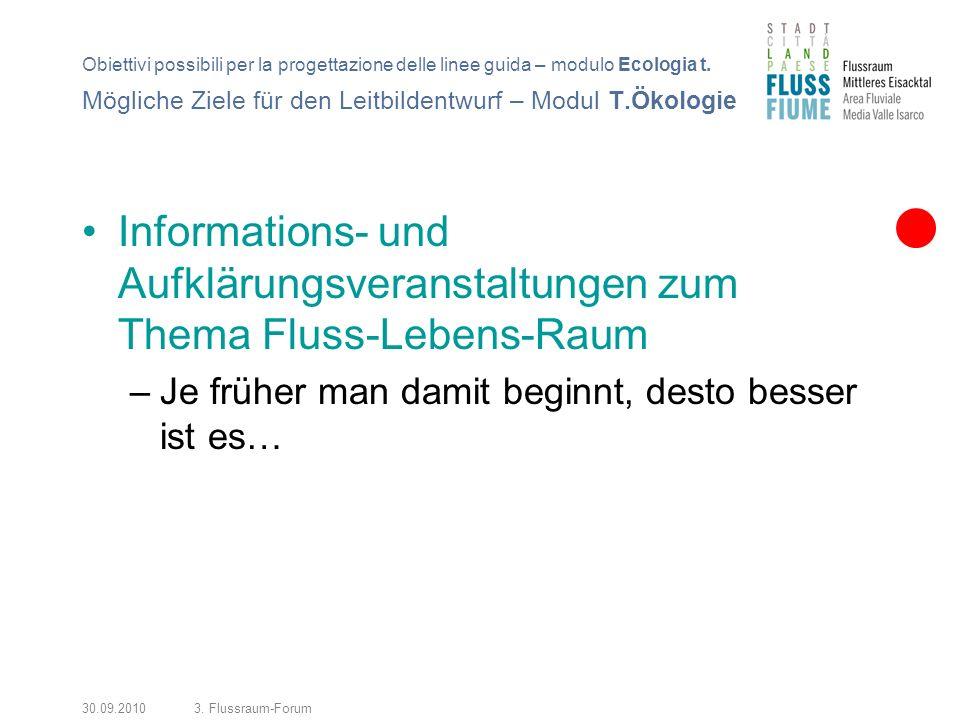 30.09.20103. Flussraum-Forum Informations- und Aufklärungsveranstaltungen zum Thema Fluss-Lebens-Raum –Je früher man damit beginnt, desto besser ist e