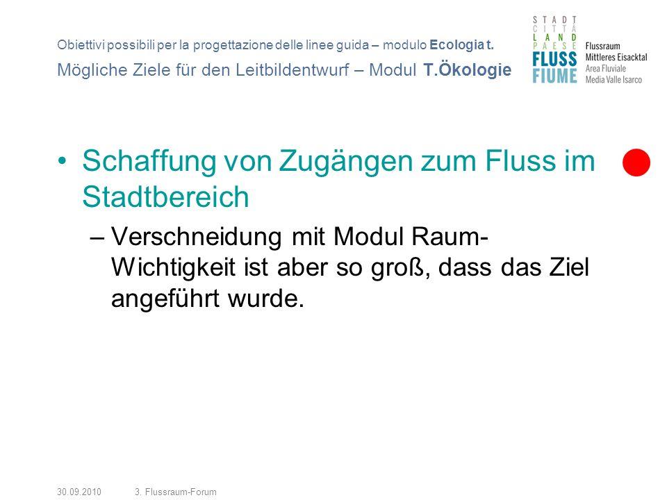 30.09.20103. Flussraum-Forum Schaffung von Zugängen zum Fluss im Stadtbereich –Verschneidung mit Modul Raum- Wichtigkeit ist aber so groß, dass das Zi