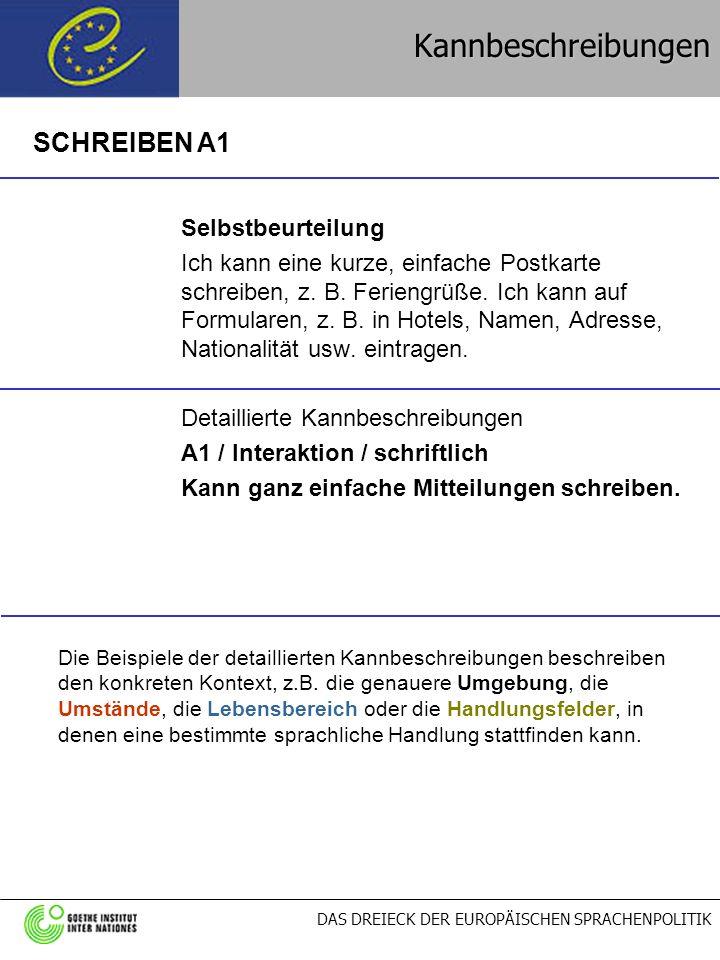 DAS DREIECK DER EUROPÄISCHEN SPRACHENPOLITIKKannbeschreibungen Selbstbeurteilung Ich kann eine kurze, einfache Postkarte schreiben, z. B. Feriengrüße.