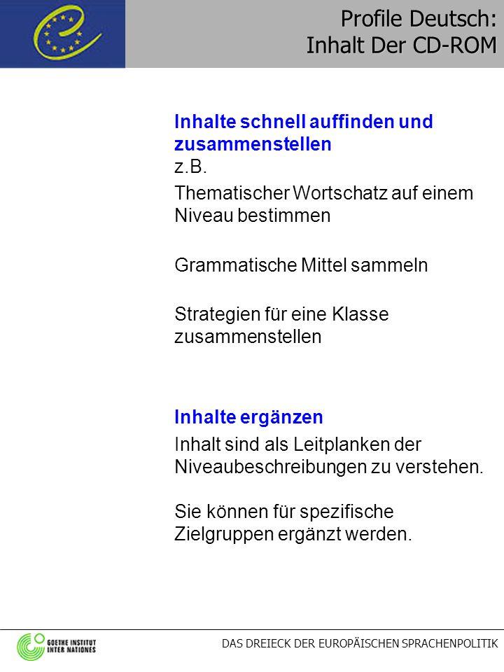 DAS DREIECK DER EUROPÄISCHEN SPRACHENPOLITIK Profile Deutsch: Inhalt Der CD-ROM Inhalte schnell auffinden und zusammenstellen z.B. Thematischer Wortsc