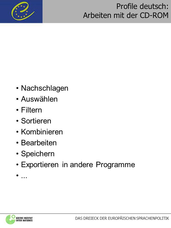 DAS DREIECK DER EUROPÄISCHEN SPRACHENPOLITIK Profile deutsch: Arbeiten mit der CD-ROM Nachschlagen Auswählen Filtern Sortieren Kombinieren Bearbeiten