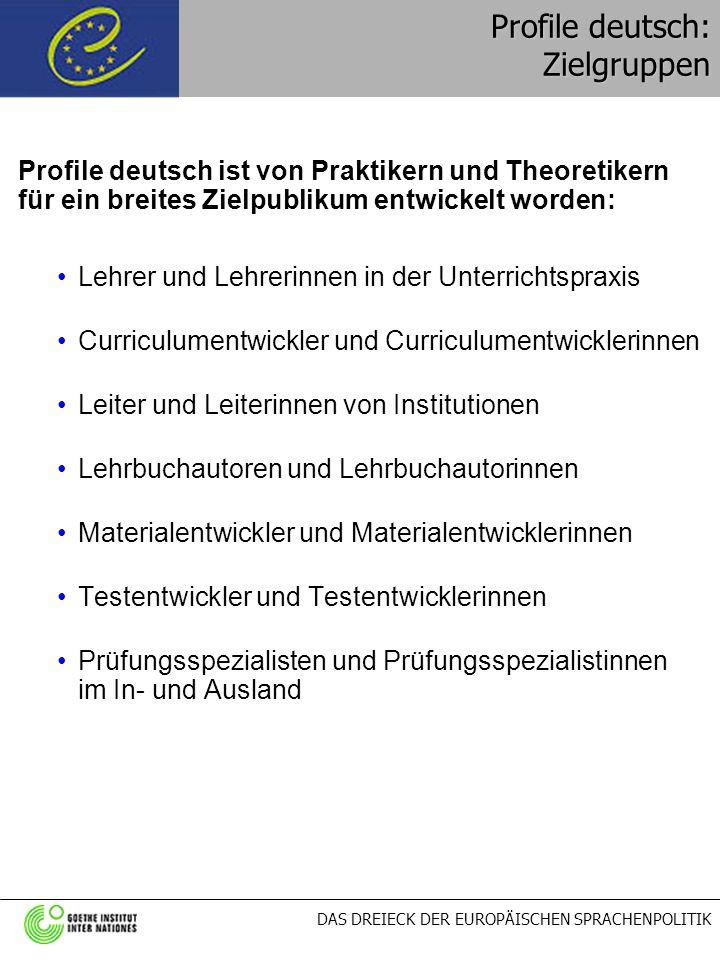 DAS DREIECK DER EUROPÄISCHEN SPRACHENPOLITIK Profile deutsch: Zielgruppen Profile deutsch ist von Praktikern und Theoretikern für ein breites Zielpubl