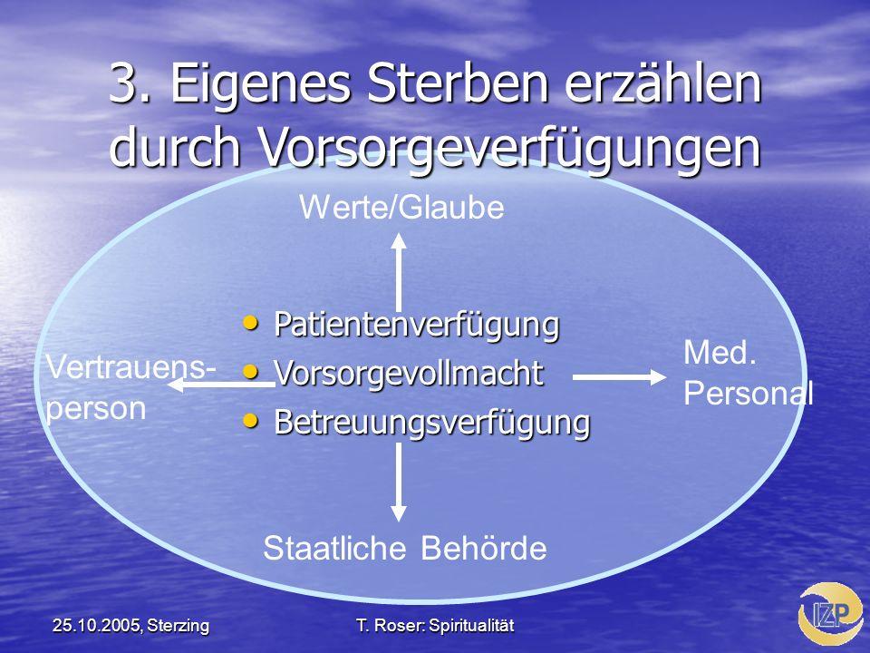 25.10.2005, SterzingT. Roser: Spiritualität 3. Eigenes Sterben erzählen durch Vorsorgeverfügungen Patientenverfügung Patientenverfügung Vorsorgevollma