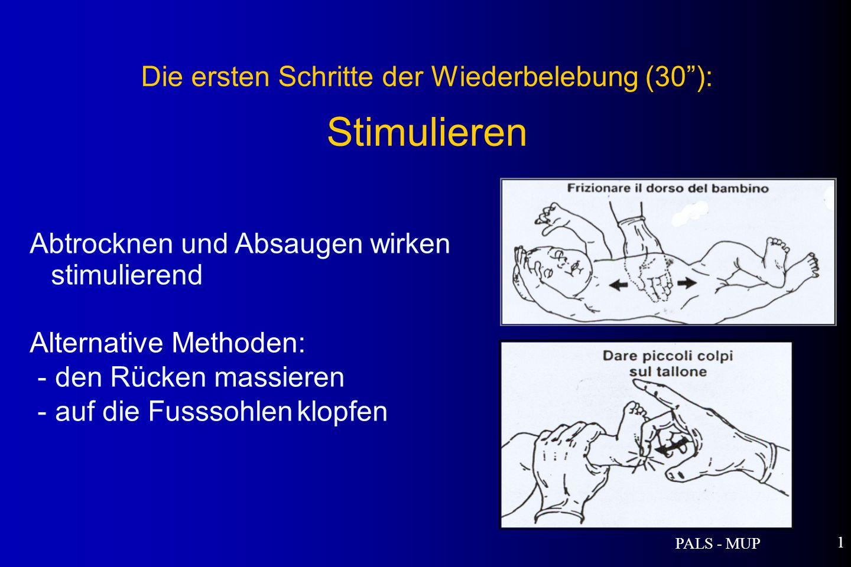 PALS - MUP 1 Abtrocknen und Absaugen wirken stimulierend Alternative Methoden: - den Rücken massieren - auf die Fusssohlen klopfen Die ersten Schritte der Wiederbelebung (30): Stimulieren