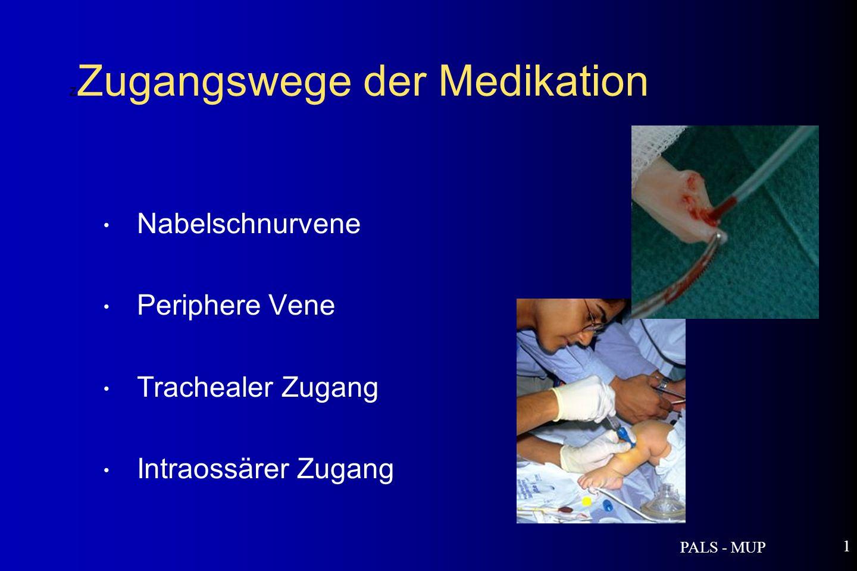 PALS - MUP 1 Nabelschnurvene Periphere Vene Trachealer Zugang Intraossärer Zugang Z Zugangswege der Medikation
