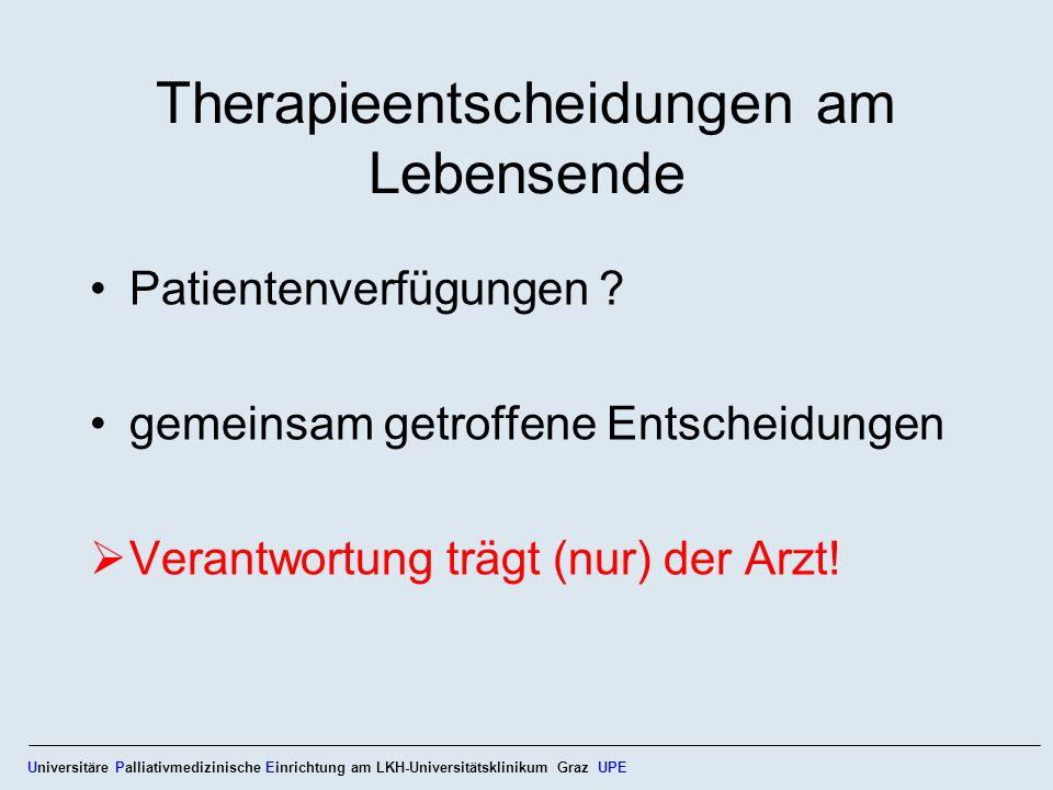 Therapieentscheidungen am Lebensende Patientenverfügungen ? gemeinsam getroffene Entscheidungen Verantwortung trägt (nur) der Arzt! Universitäre Palli
